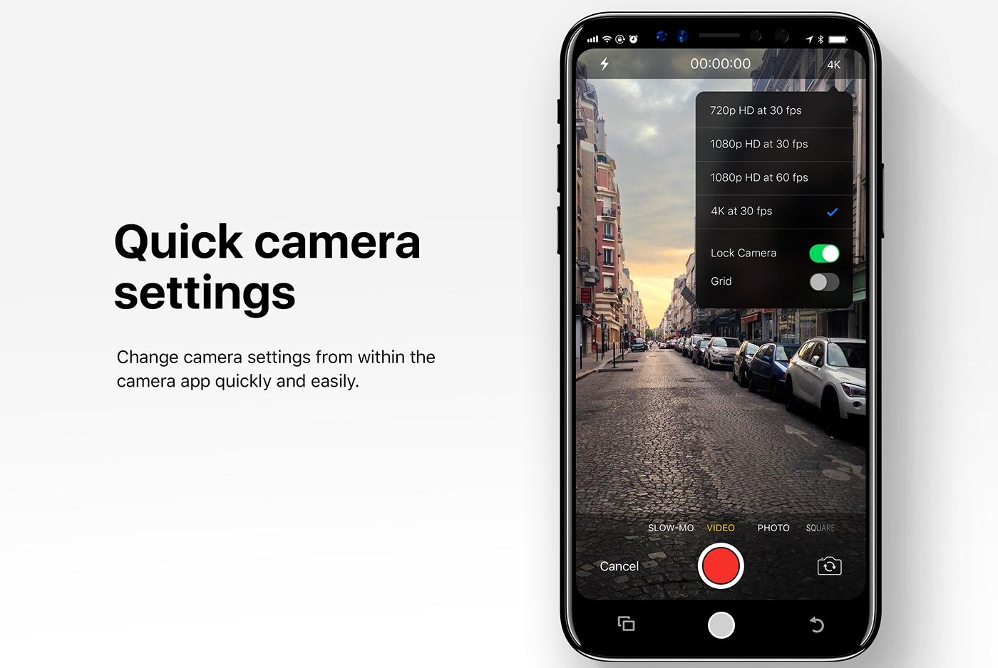 Single swipe camera setting in iOS 12