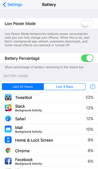 Battery usage in iOS 9