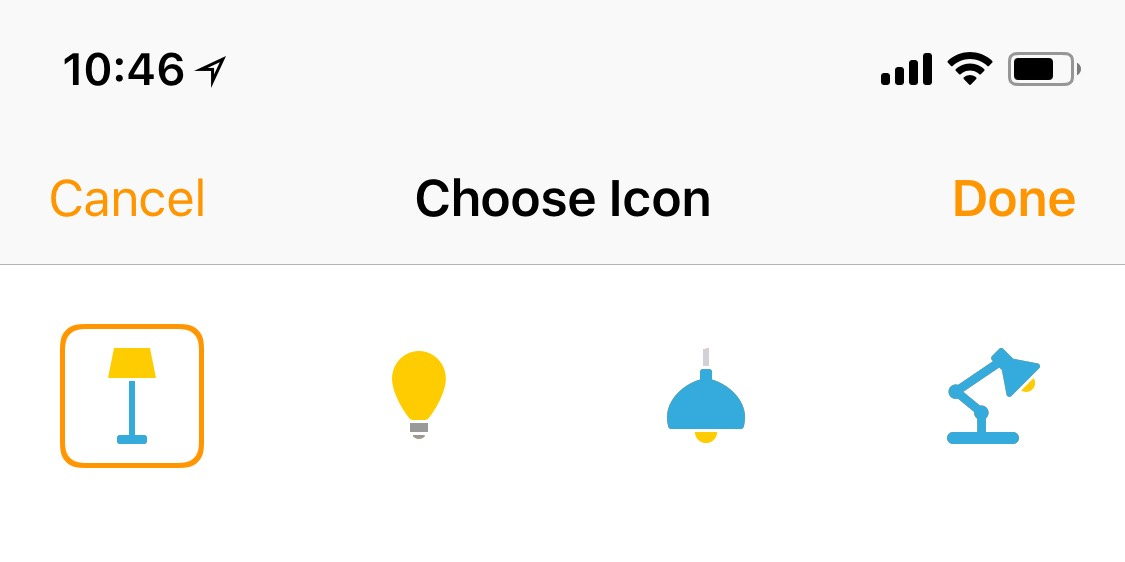 Choose light icon for HomeKit