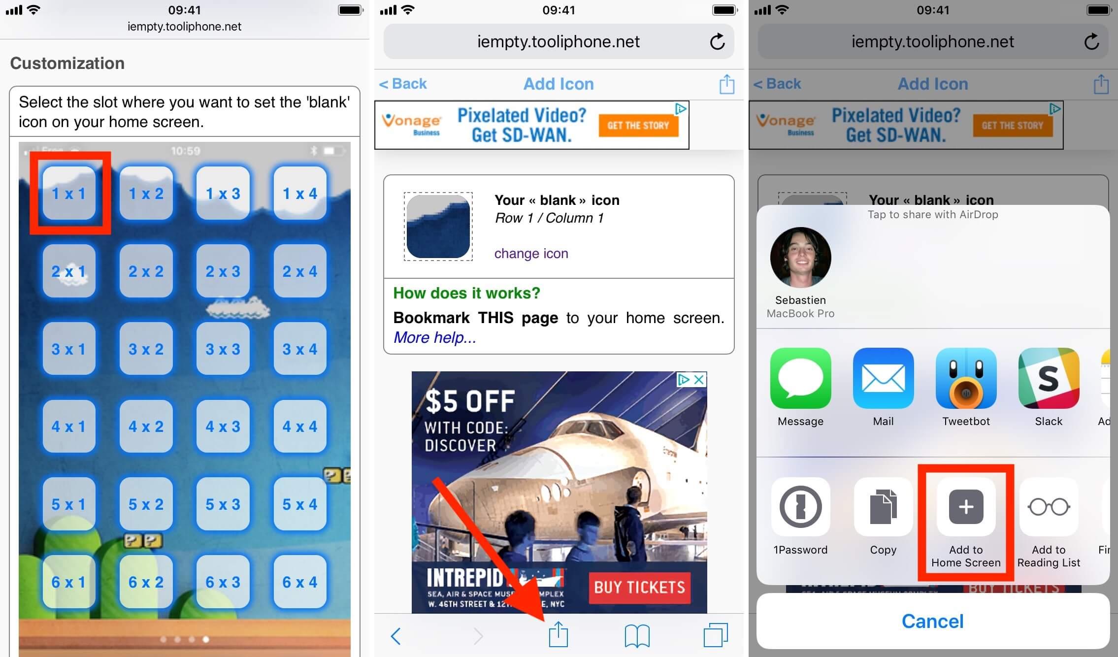 Create empty icons on iPhone