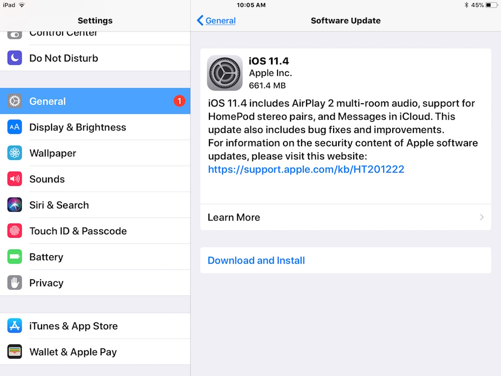 iOS 11.4 update download and install